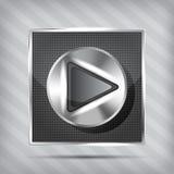 Metallischer Knopf mit Spielikone Lizenzfreie Stockfotografie