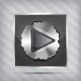 Metallischer Knopf mit Spielikone Stockbilder