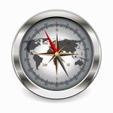 Metallischer Kompass Stockfoto