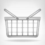 Metallischer Korb in der Seitenansicht lokalisiert Lizenzfreie Stockfotografie