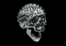 Metallischer verkratzter Rusty Skull mit Beschneidungspfad in Querstation Lizenzfreies Stockbild