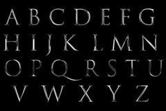 Metallisches Alphabet des Weinlesegussgelb-Silbers beschriftet Worttext s lizenzfreie abbildung