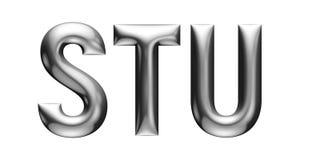 Metallisches Alphabet mit linearem Guss, Buchstaben S T U, Chromeffekt mit Schrägfläche, weißer Hintergrund Lizenzfreie Stockbilder