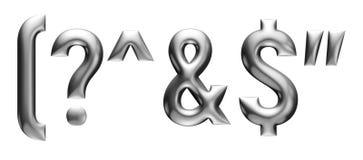 Metallisches Alphabet mit linearem Guss, Interpunktionszeichen, Buchstaben, Chromeffekt mit Schrägfläche, weißer Hintergrund Lizenzfreie Stockbilder