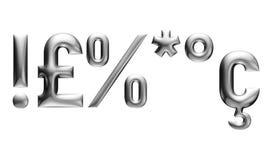 Metallisches Alphabet mit modernem Guss, Interpunktionszeichen, Chromeffekt mit Schrägfläche, weißer Hintergrund Stockbild