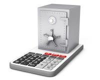 Metallisches Bank-Safe über Taschenrechner Wiedergabe 3d Stockfotos