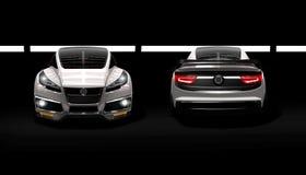 Metallisches dunkles silbernes modernes Konzeptrennsuper Motor- Schönheits-Schuss ighlight stock abbildung