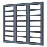 Metallisches Fenster lokalisiert auf Weiß Lizenzfreie Stockfotos