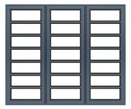 Metallisches Fenster lokalisiert auf Weiß Stockfotografie
