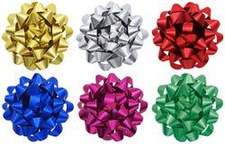 Metallisches Geschenk beugt x 6 lizenzfreie stockbilder
