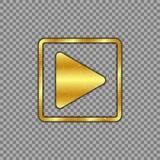 Metallisches Gold überzog Spielknopf auf lokalisiertem transparentem Hintergrund Das An-/Aus-Schalter wird verkratzt, getragen Au stock abbildung