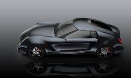 Metallisches graues Sportauto lokalisiert auf grauem Hintergrund Stockfotografie