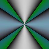 Metallisches Kreuz auf grünem und blauem Hintergrund Lizenzfreies Stockfoto