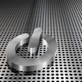 Metallisches Leistung-Symbol auf Chrom-Rasterfeld stock abbildung