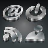 Metallisches Set der Symbol-3D Stockfotografie