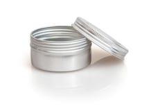 Metallisk behållare för bio schampo Arkivbilder
