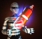 Metallisk brandsläckare på futuristiskt hologram royaltyfri illustrationer