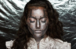 Metallisk framsida av kvinnor fotografering för bildbyråer