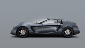 Metallisk grå sportbil som isoleras på grå bakgrund Royaltyfri Bild