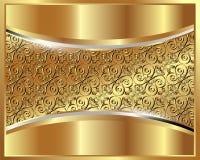 Metallisk guld- bakgrund med en mönstra Arkivbild