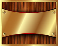 Metallisk guld- ram på en träbakgrund 2 Fotografering för Bildbyråer