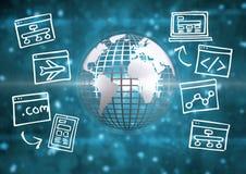 metallisk jord 3D med internetdiagrammet Fotografering för Bildbyråer