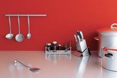 Metallisk kitchenware Arkivbilder