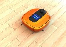 Metallisk orange robotic dammsugare som är rörande på durk vektor illustrationer