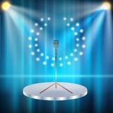 Metallisk silvertappningmikrofon Arkivfoto