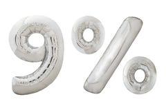 Metalliska ballonger för nio procent krom på vit Arkivbilder