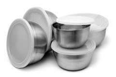 Metalliska behållare för mat Arkivfoton