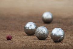 Metalliska bollar för petanque fyra Royaltyfri Fotografi
