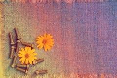 Metalliska bultar och blommor på säckväv Arkivfoto