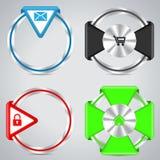 Metalliska cirkelknappar med olika symboler Royaltyfri Foto