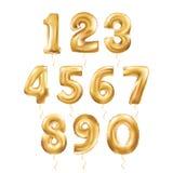 Metalliska guld- bokstavsballonger 123 vektor illustrationer