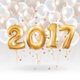 Metalliska guldballonger för lyckligt nytt år Royaltyfria Bilder