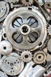 Metalliska kugghjul bakgrund, teamworkbegrepp Royaltyfria Foton