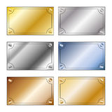 Metalliska minnestavlor med utrymme för text Arkivfoton