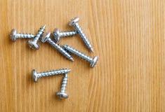 Metalliska skruvar Fotografering för Bildbyråer