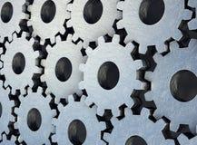 Metalliska, slitna skrapade kugghjul som monterar sig med det huvudsakliga gr?na kugghjulet, illustration 3d vektor illustrationer