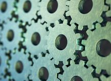 Metalliska, slitna skrapade kugghjul som monterar sig med det huvudsakliga gr?na kugghjulet, illustration 3d royaltyfri illustrationer
