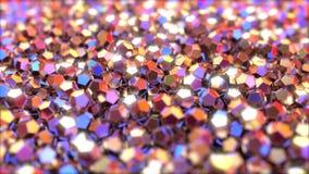Metalliska stycken för abstrakt vanlig dodecahedron som reflekterar röda och blåa färger, tolkning 3D Arkivbild