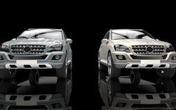 Metalliska SUV Front View Fotografering för Bildbyråer
