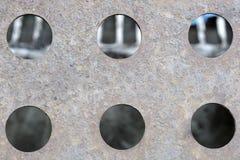 metalliska textur och hål i den Fotografering för Bildbyråer