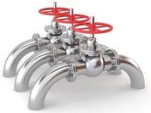 metalliska ventiler för gas Arkivfoto