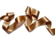 Metalliskt band för guld- brons på vit Arkivbild