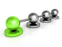 Metalliskt begreppssfärnätverk med den gröna ledarebollen Arkivbild