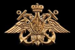Metalliskt emblem av den ryska marinen arkivfoton