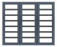 Metalliskt fönster som isoleras på vit Arkivbild