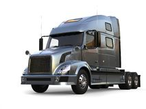 Metalliskt kritisera den gråa moderna stora halva släplastbilen stock illustrationer